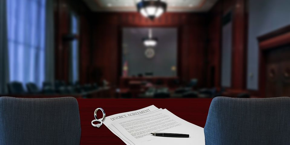 divorce papers inside a court room